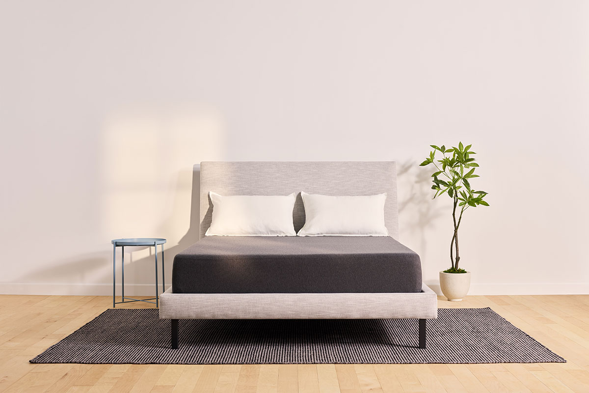 Caper mattress on grey bed frame