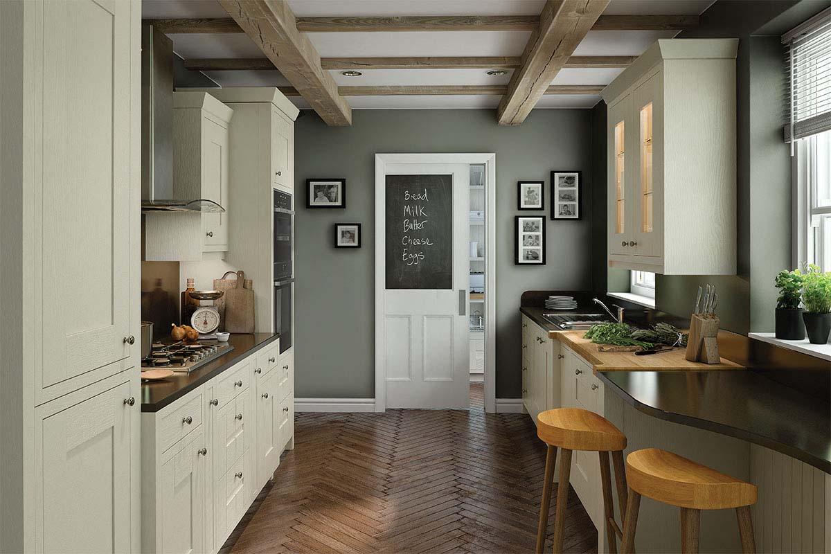 Cream double galley kitchen