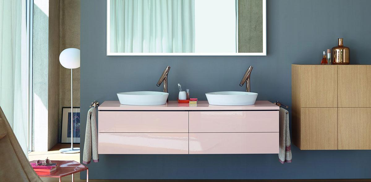 Pink double vanity unit