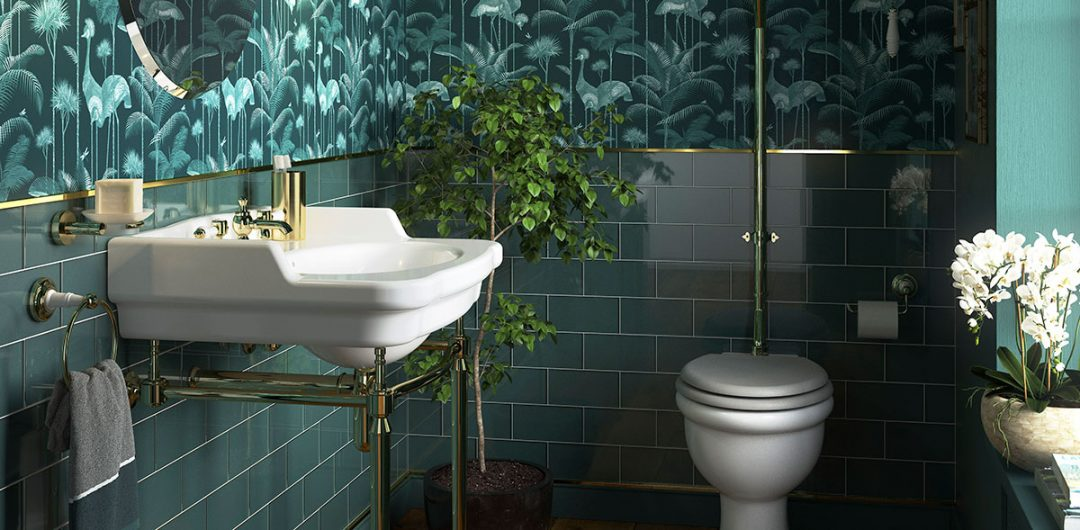 Blue-green cloakroom with more traditional sanitaryware