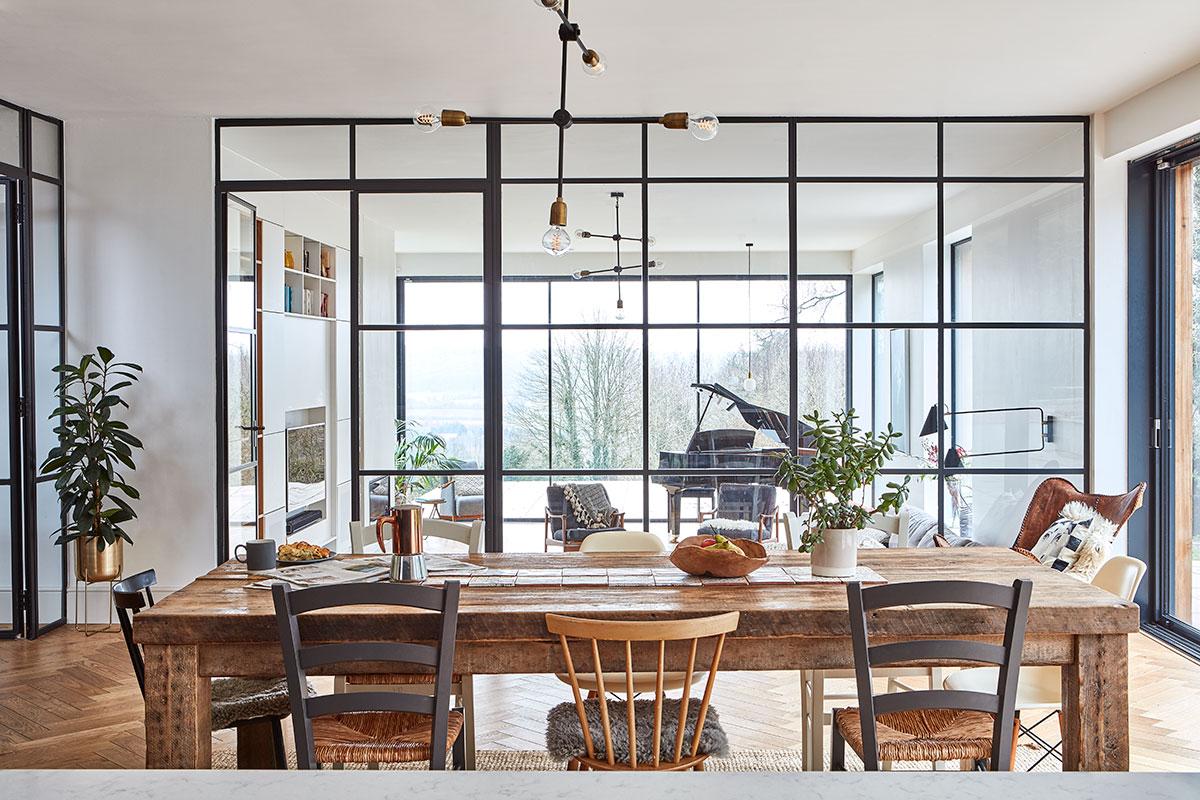 steel glazing separates the kitchen