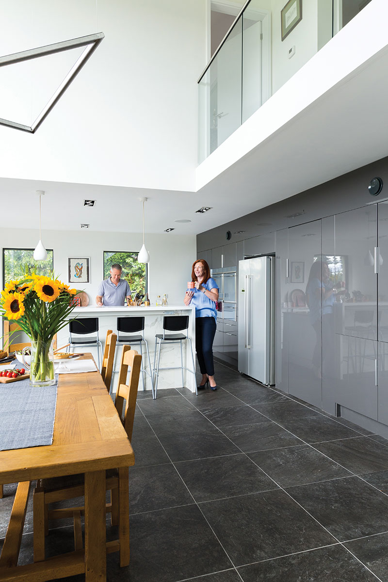 White and grey kitchen with mezzanine
