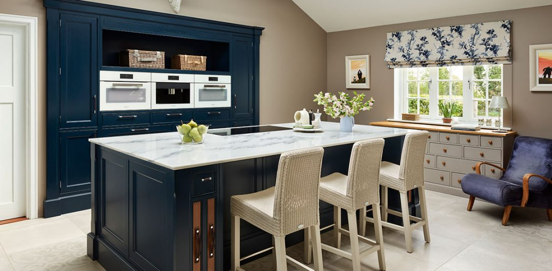 Classic kitchen in dark blue