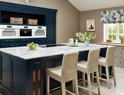 Classic kitchen in dark blue
