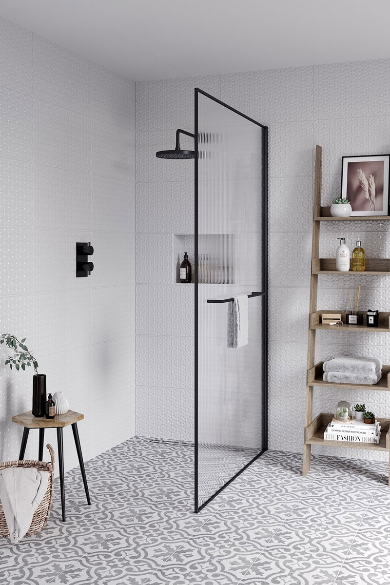 Monochrome cloakroom with large reeded shower screen