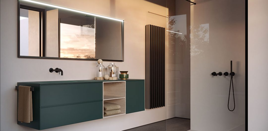 double vanity unit green