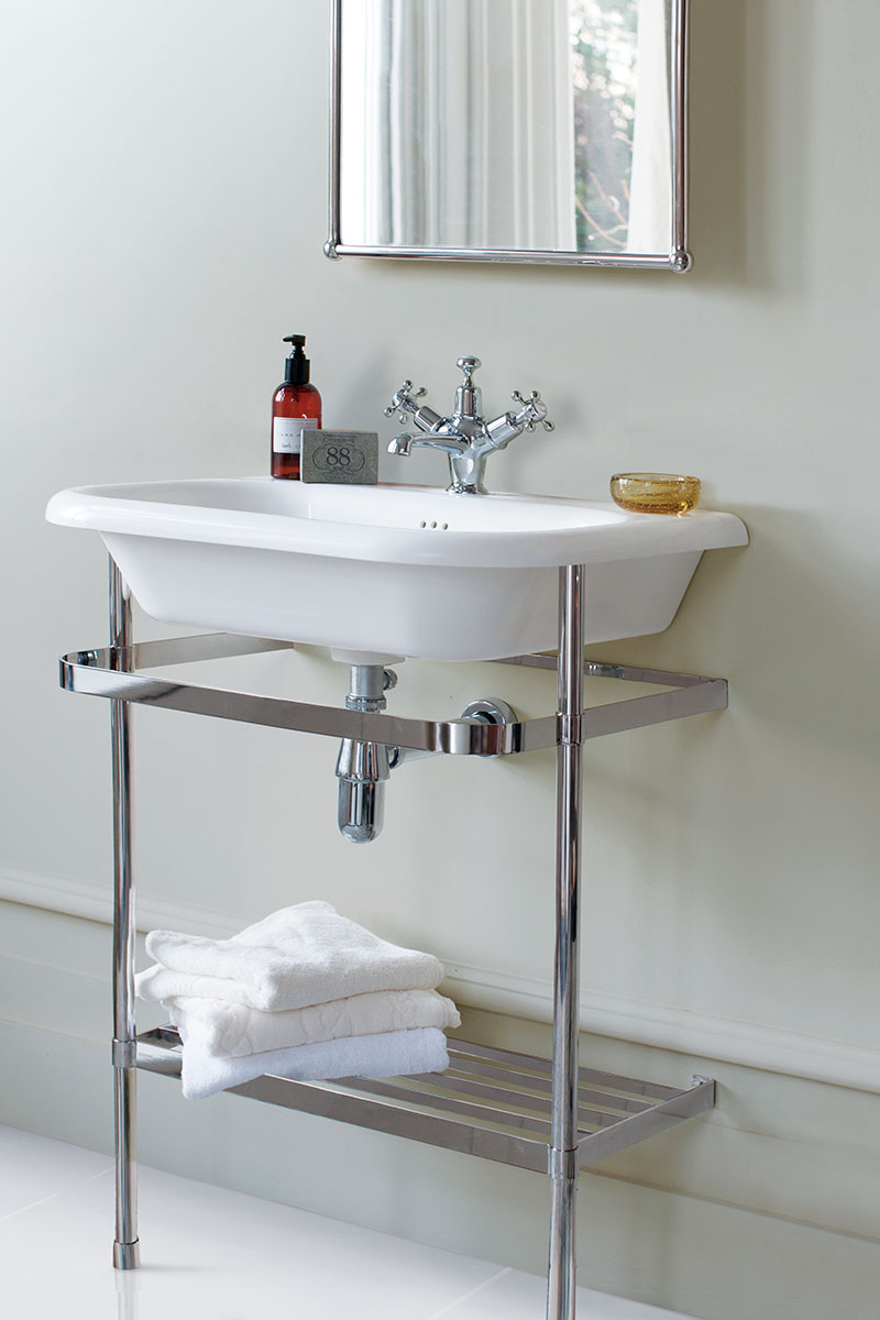 modern pedestal basin with metal base