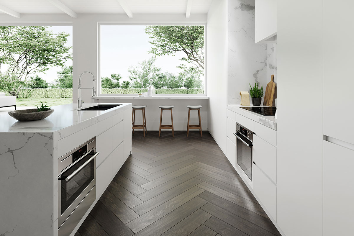 Dark wood-effect porcelain tiles in a white kitchen
