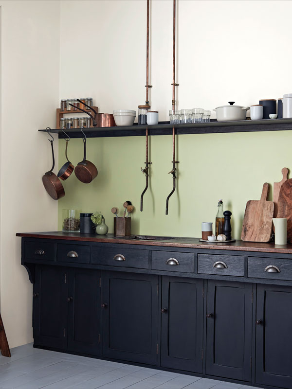 Black kitchen pantry with units