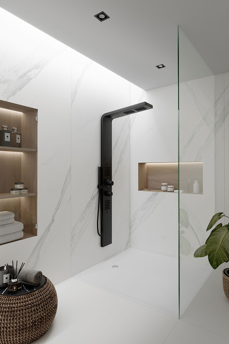 Shower enclosure with marble-look quartz wall cladding and black brassware