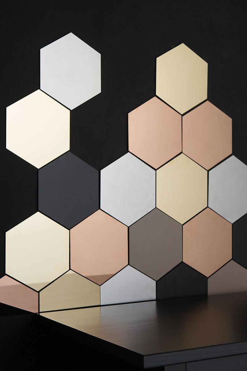 Metallic hexagon tiles