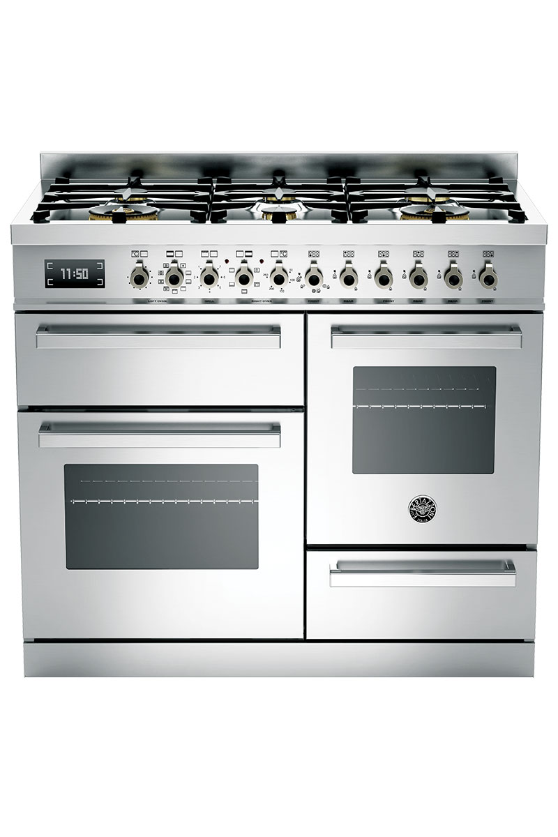 Bertazzoni stainless steel range cooker with gas hob
