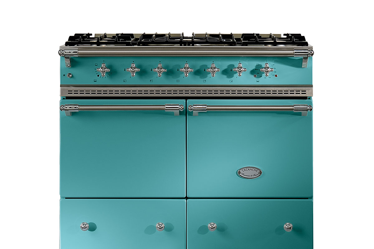 teal range cooker from Lacanche with gas hob