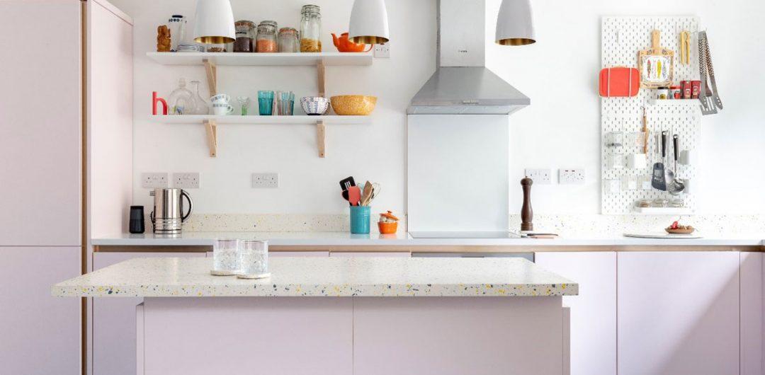 Jesmonite worktop and purple cabinetry