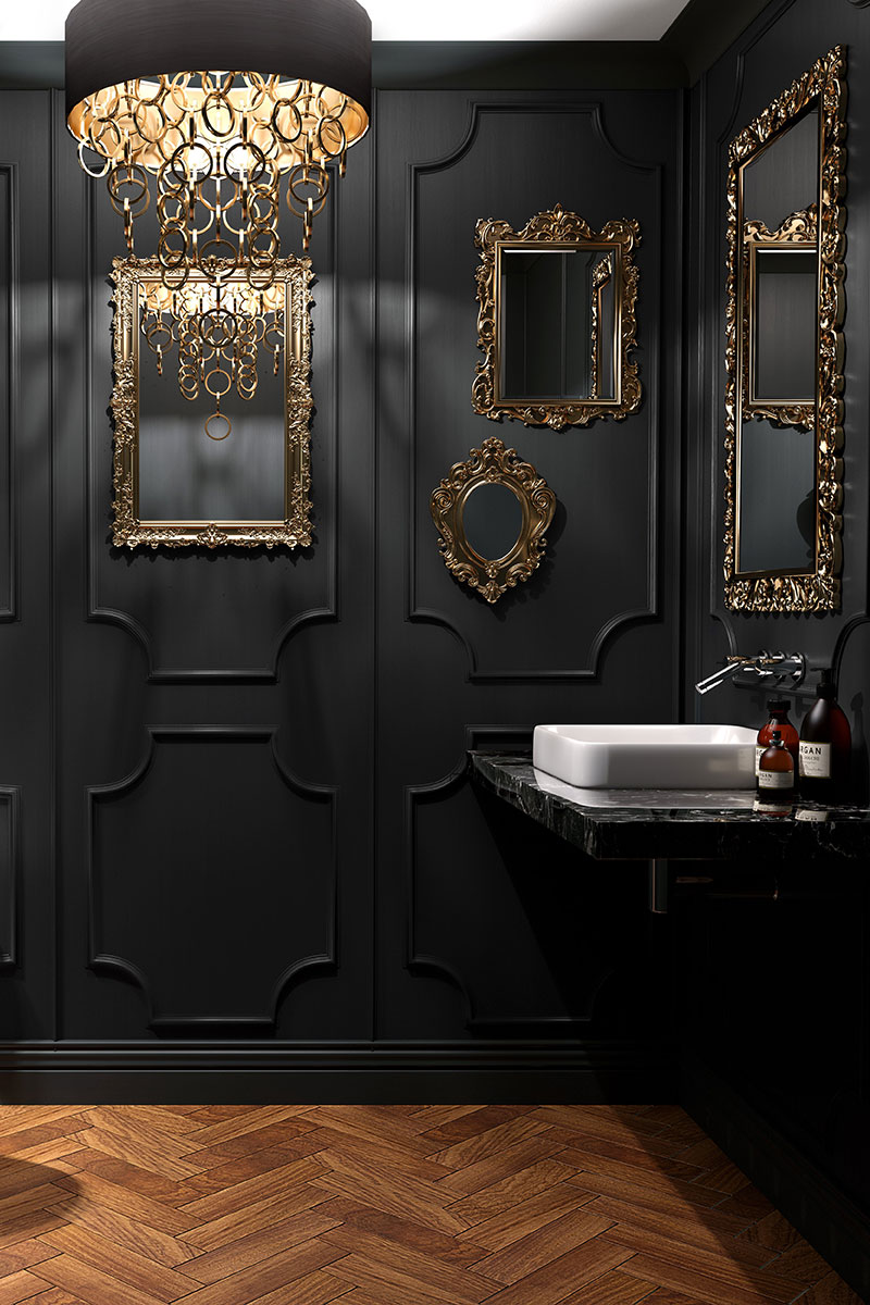 Black cloakroom with metallic accents