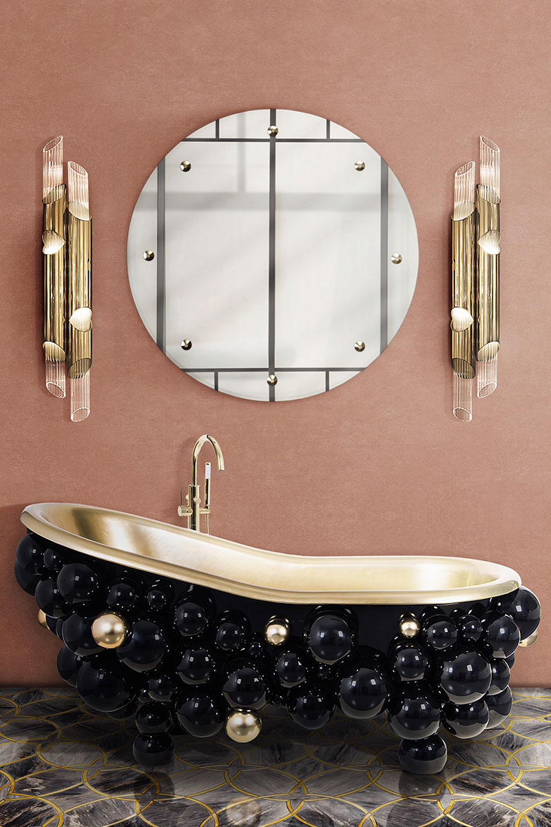 Black bathtub made from bubbles
