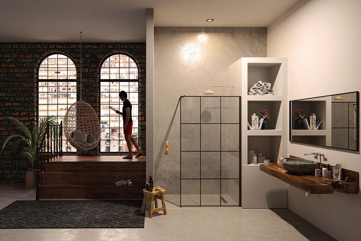 Open-plan bedroom with wetroom in industrial loft
