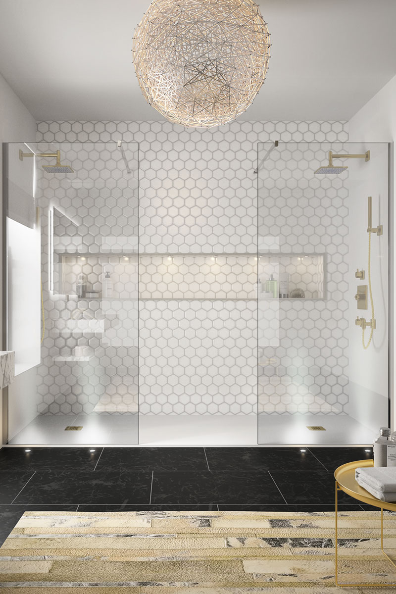 Glamorous bathroom with his and hers shower area