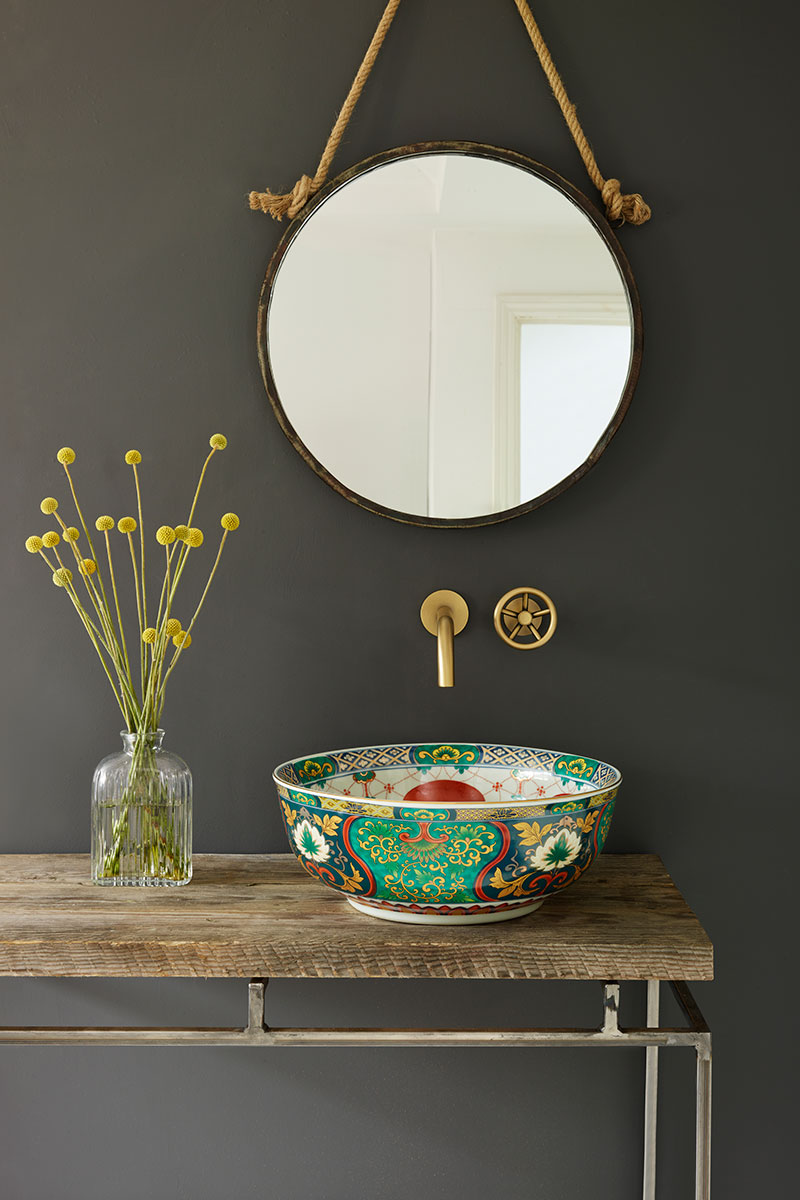 Solid wood vanity with colourful vessel basin