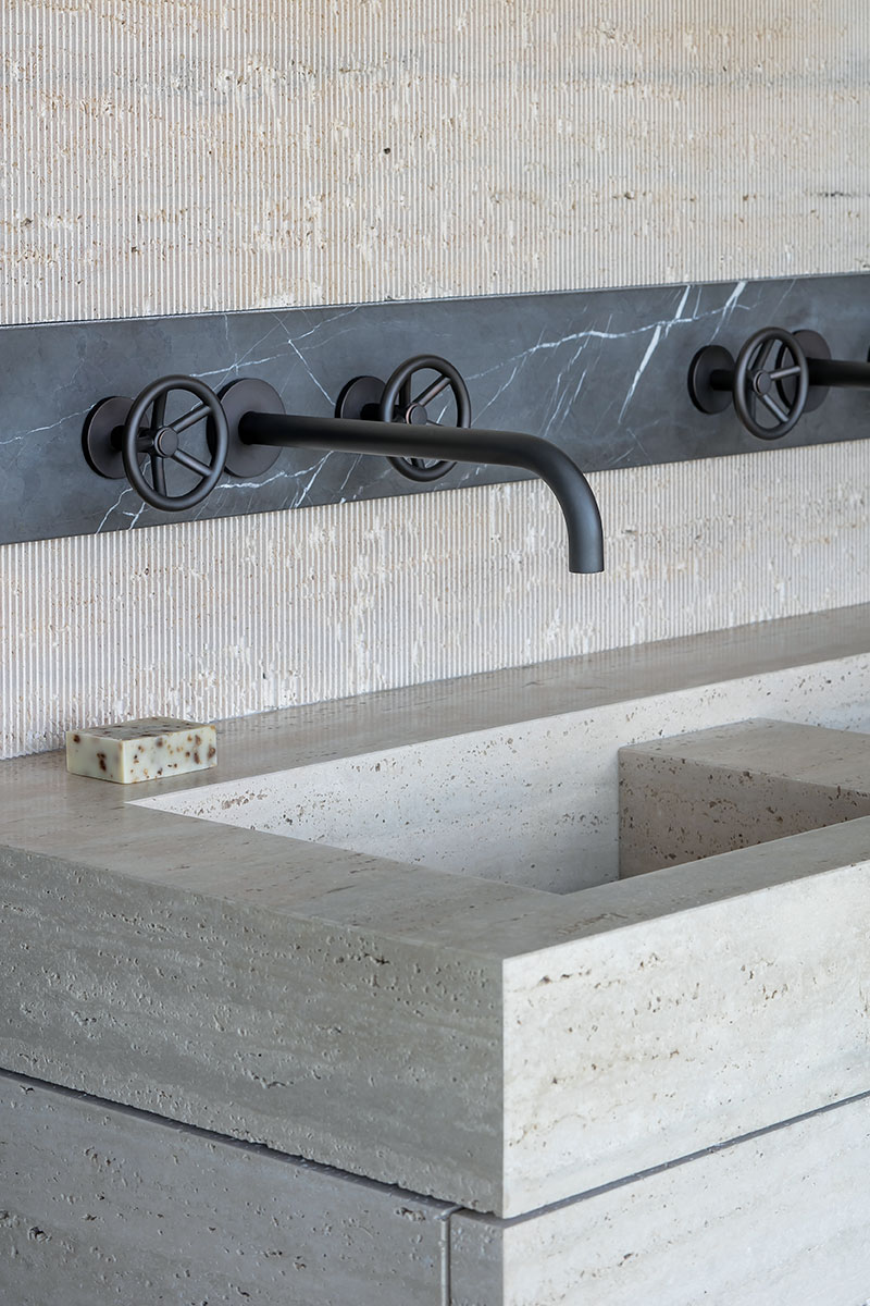 black industrial bathroom taps