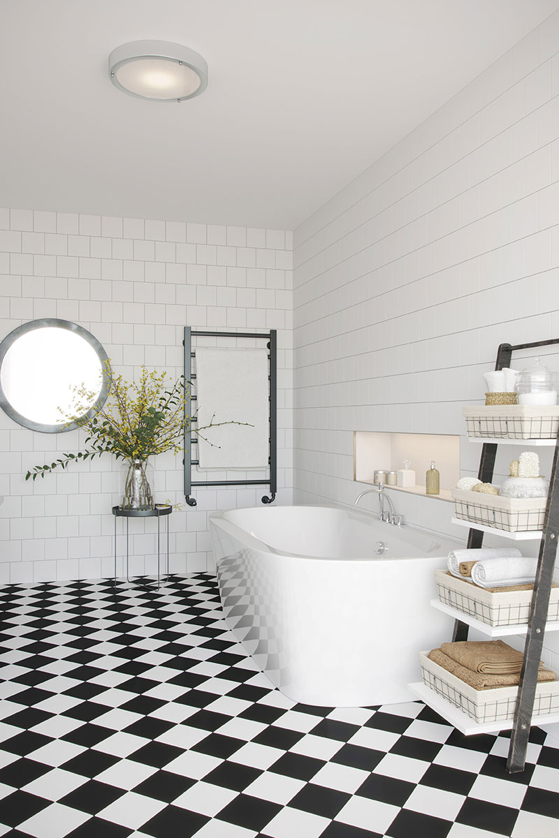 Classic black and white checked floor tiles