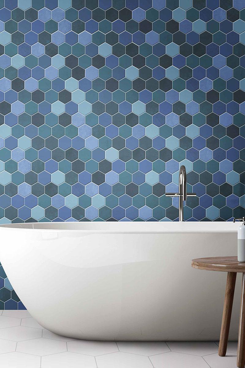 Blue hexagon mosaic wall tiles