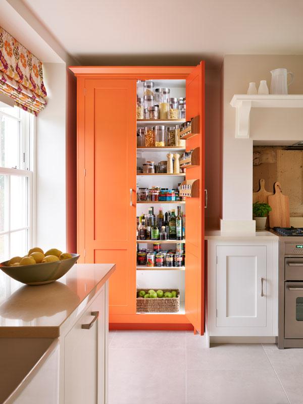 Orange breakfast larder cupboard