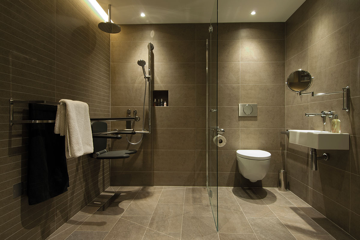 Accessible bathroom with assistive accessories
