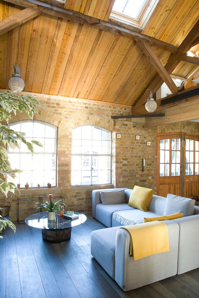 L-shape sofa in open-plan room
