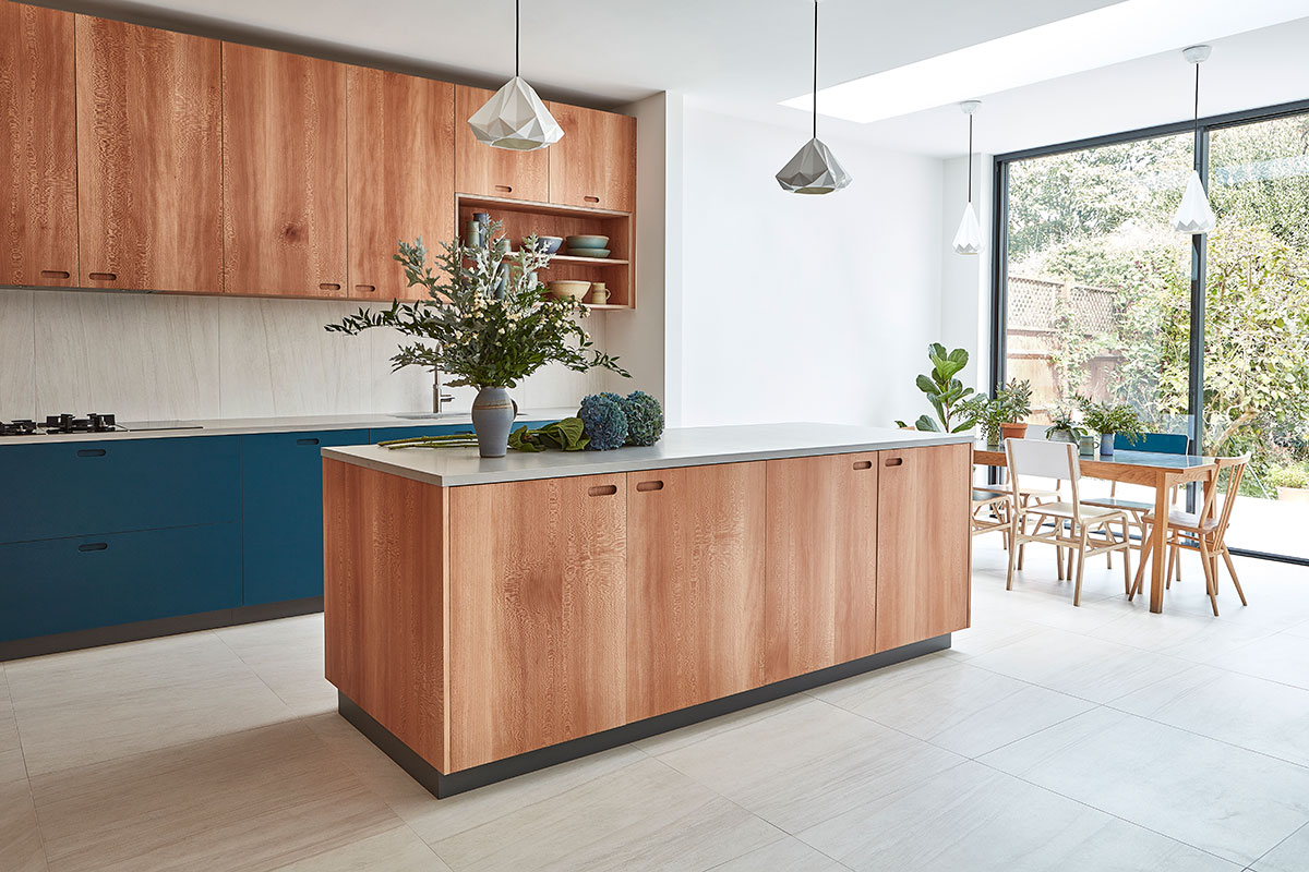 Pluck kitchen with island and wooden units