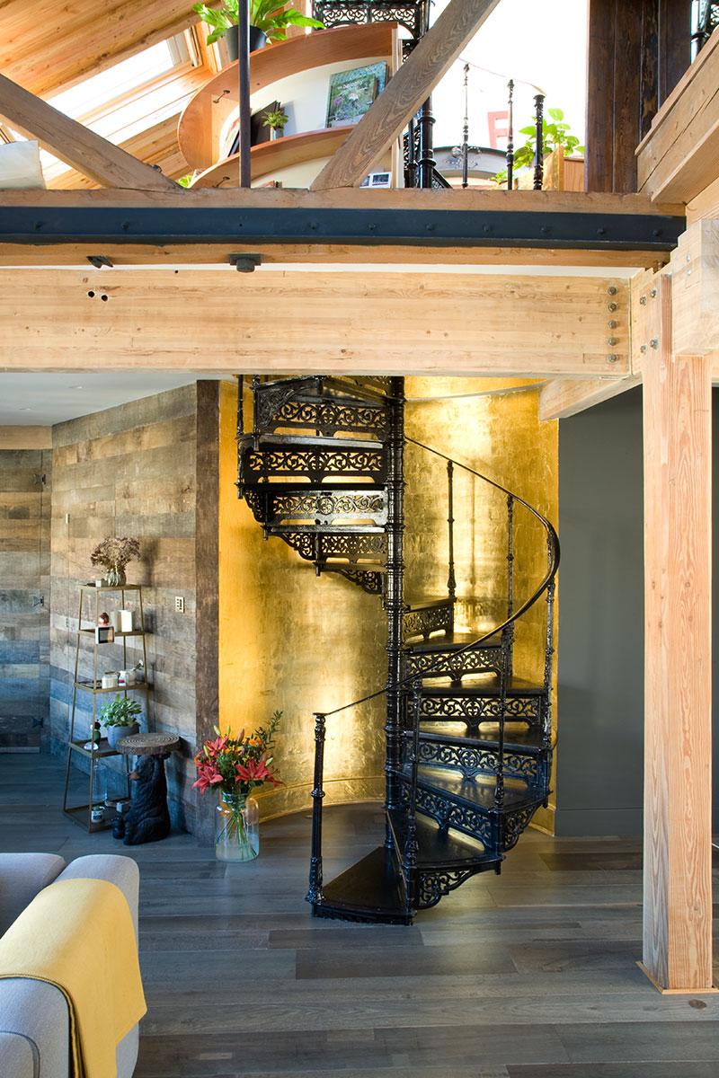 spiral staircase warehouse conversion