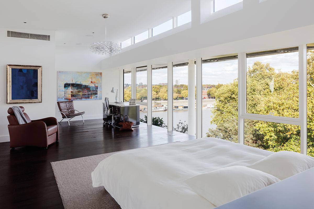The bedroom enjoys great views
