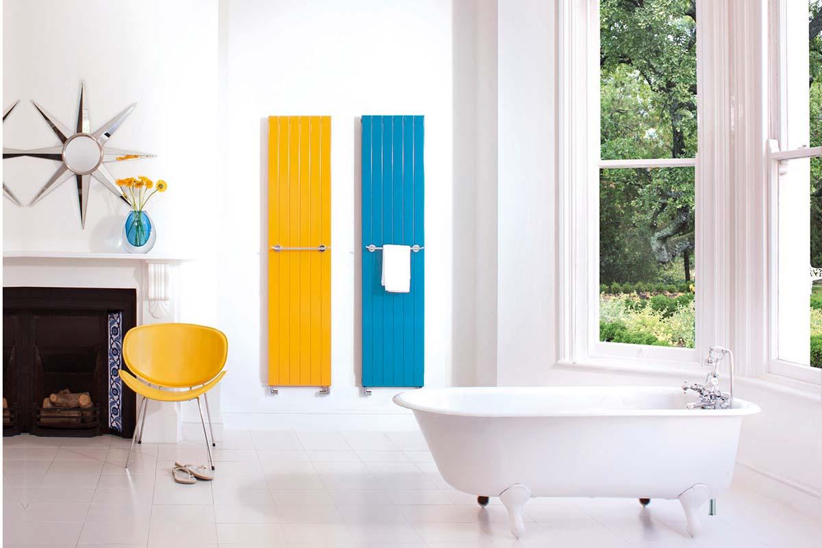 Bright towel radiator bathroom scheme