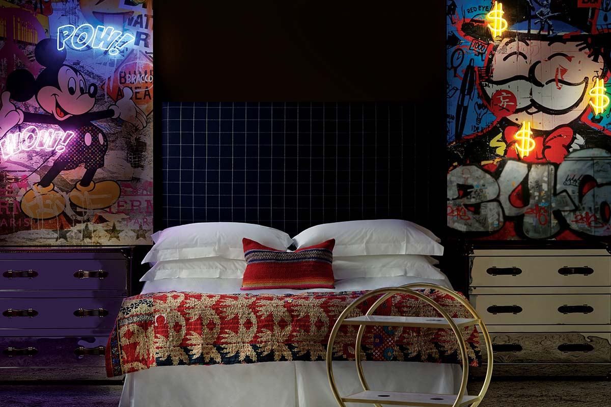 Light artwork on bedroom walls