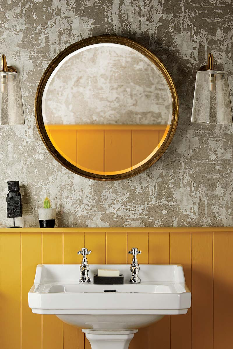Mustard wall and traditional sink