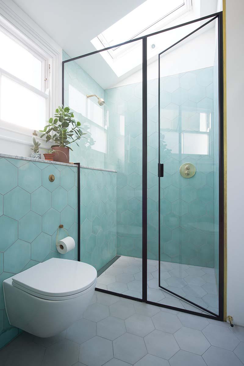Aqua and grey bathroom