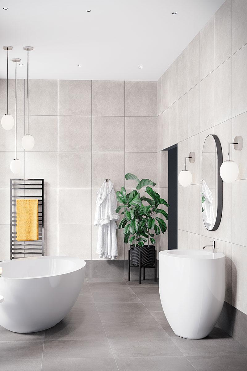 CP Hart grey bathroom with white sanitaryware
