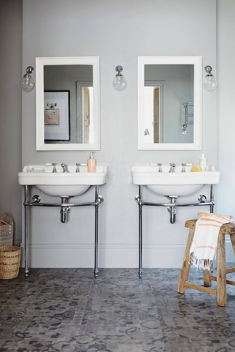 How to renovate a bedroom grey patterned bathroom
