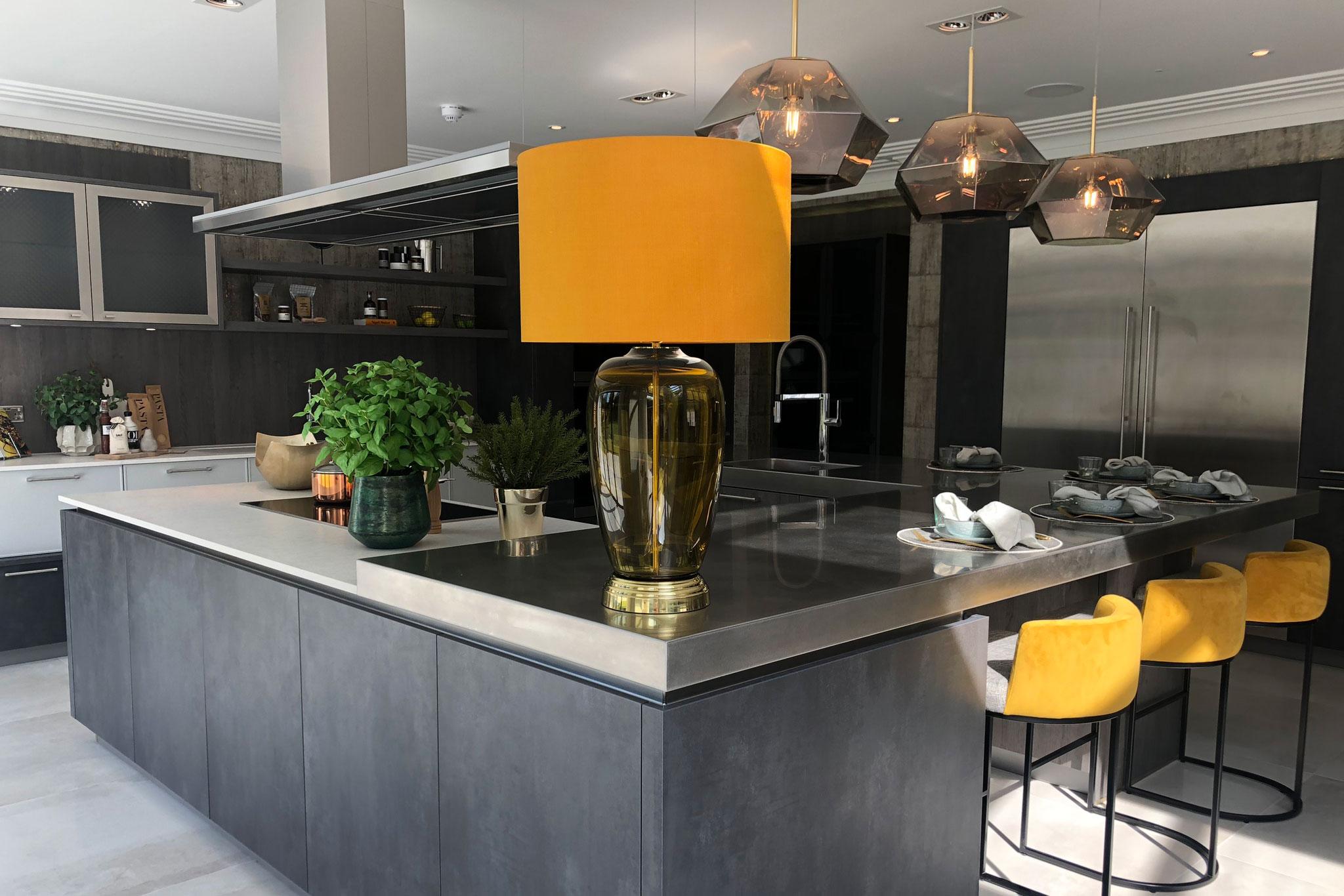 Kitchen with layered lighting scheme