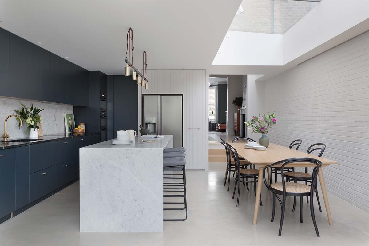 Navy kitchen extension with skylight