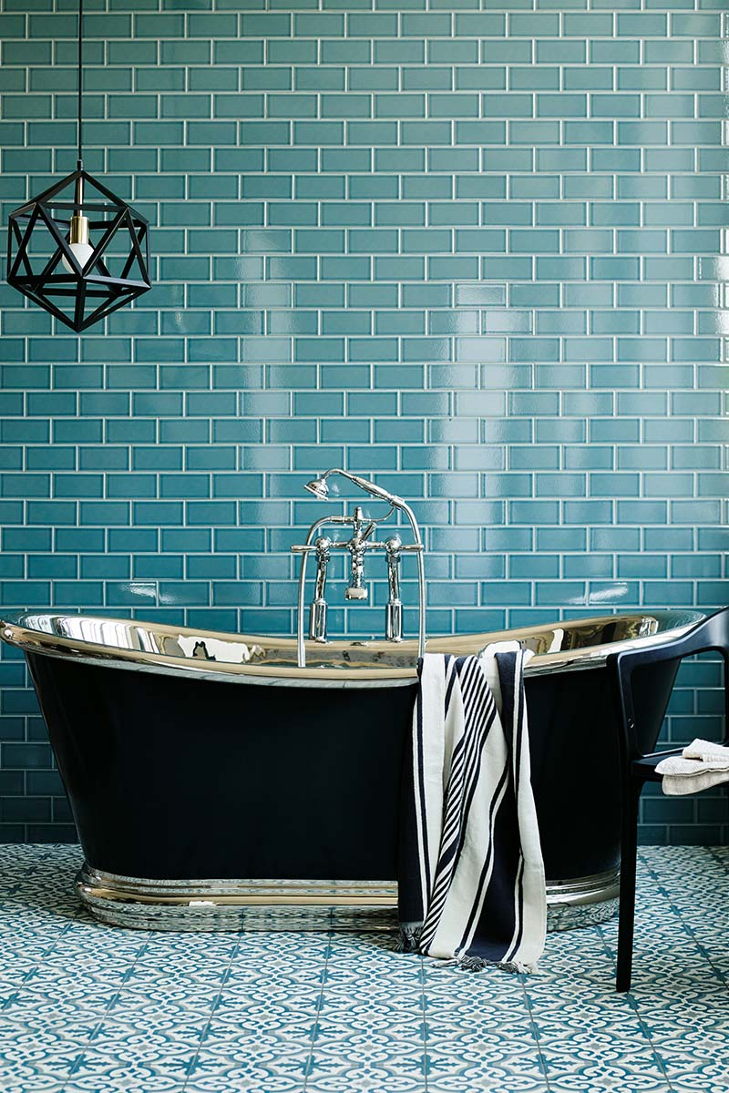 Bright bathroom with patterned floor tiles