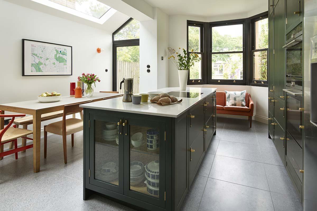 Dark green kitchen extension