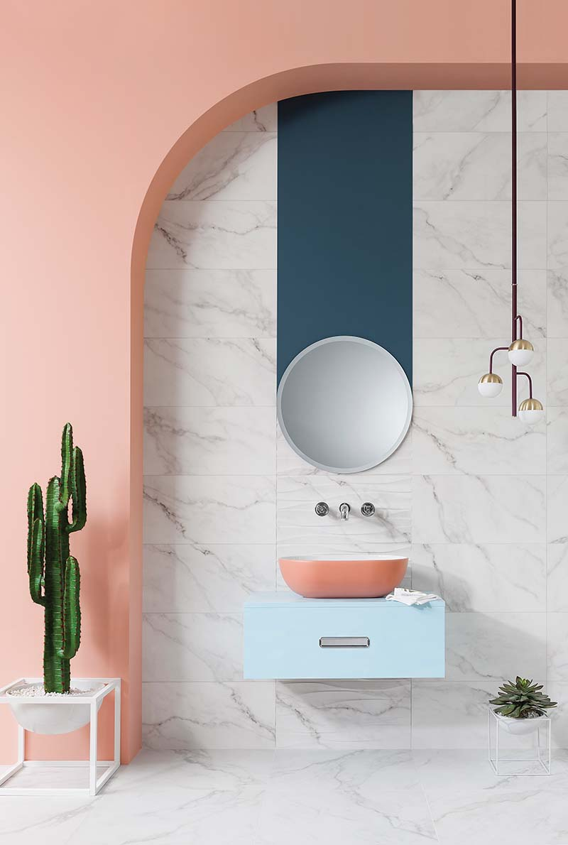 Marble bathroom with coral sink