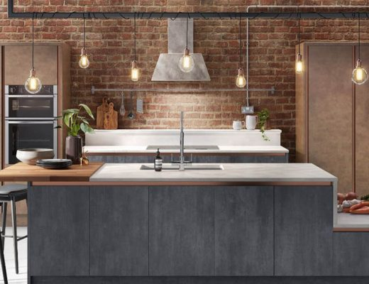 Industrial Wren kitchen with pendant lighting