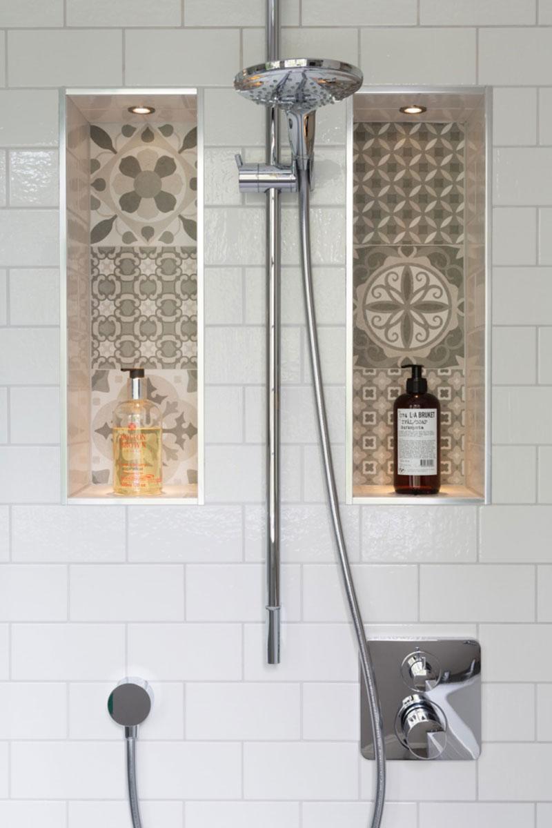 Shower ledge featuring LED lighting