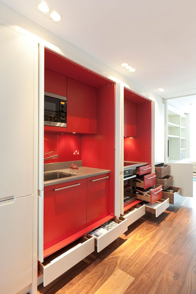Mowlem & Co red kitchen