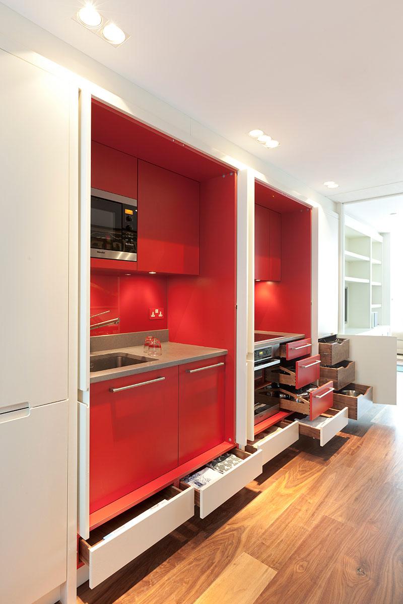 Mowlem & Co red hidden kitchen