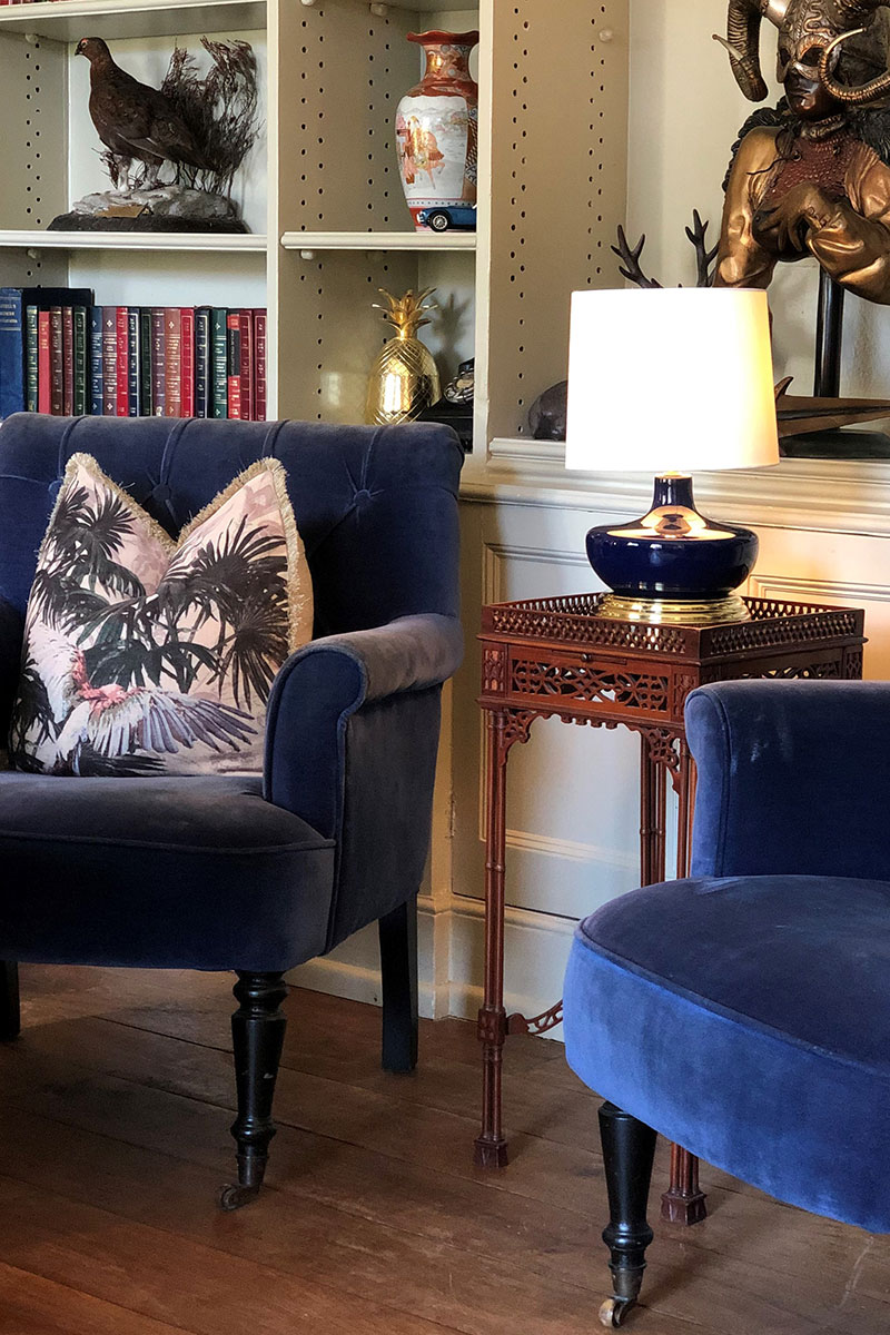 Alexander Joseph navy seats and table lamps