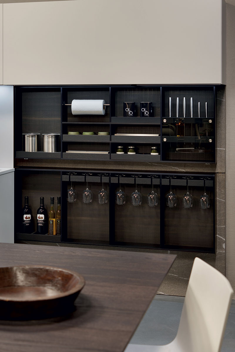 Kitchen storage behind pocket doors