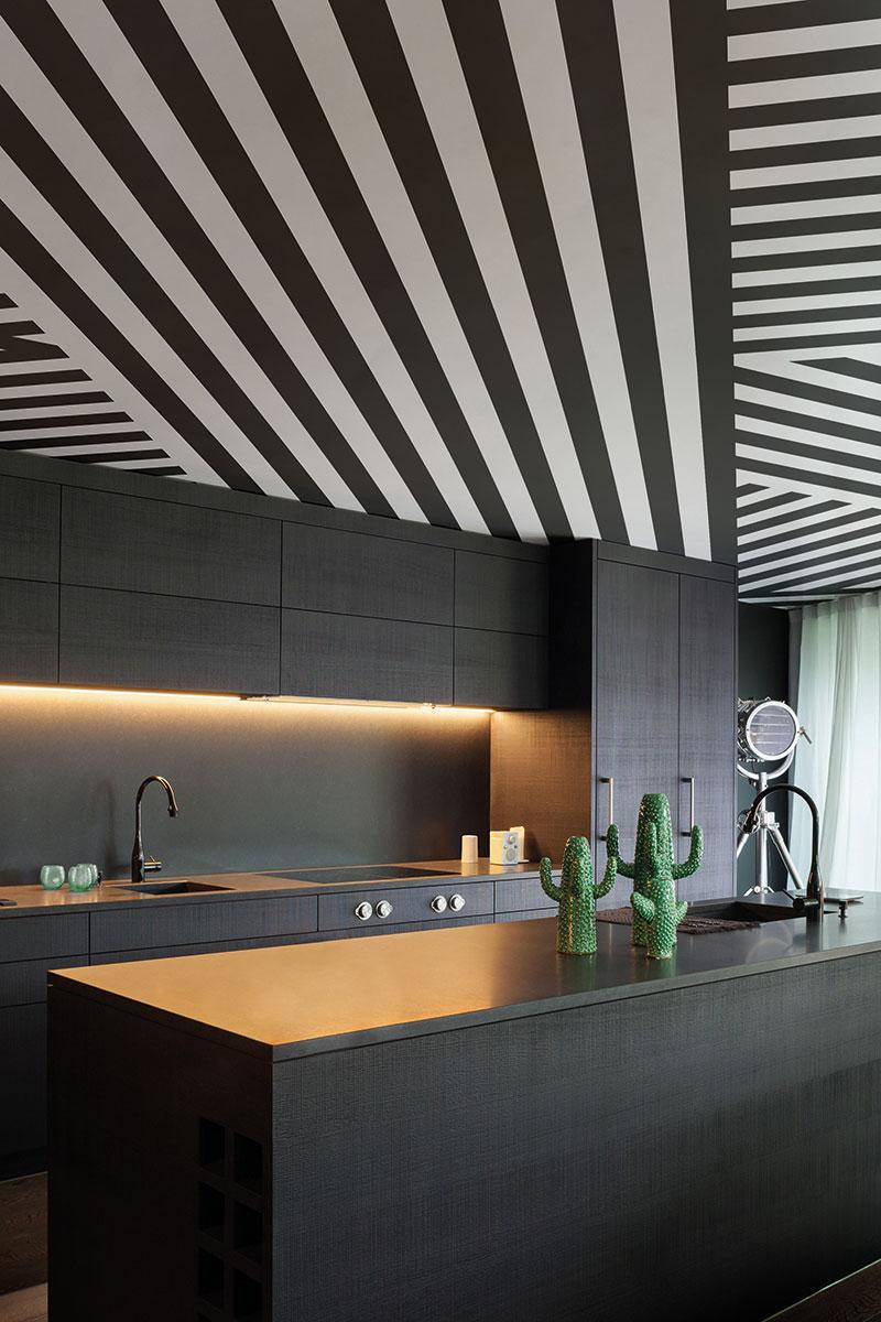 Geometric ceiling mural